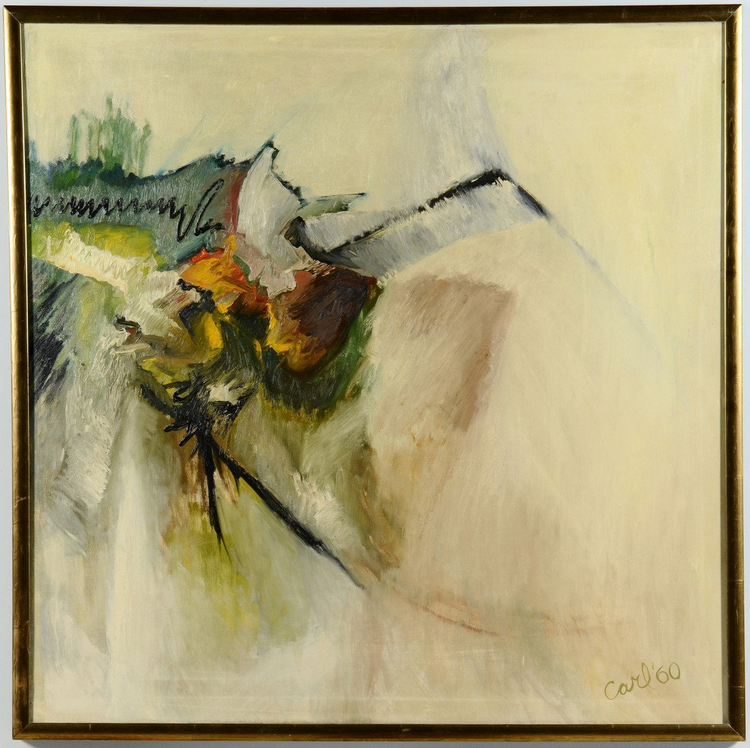 Lot 588: Abstract oil on canvas, signed