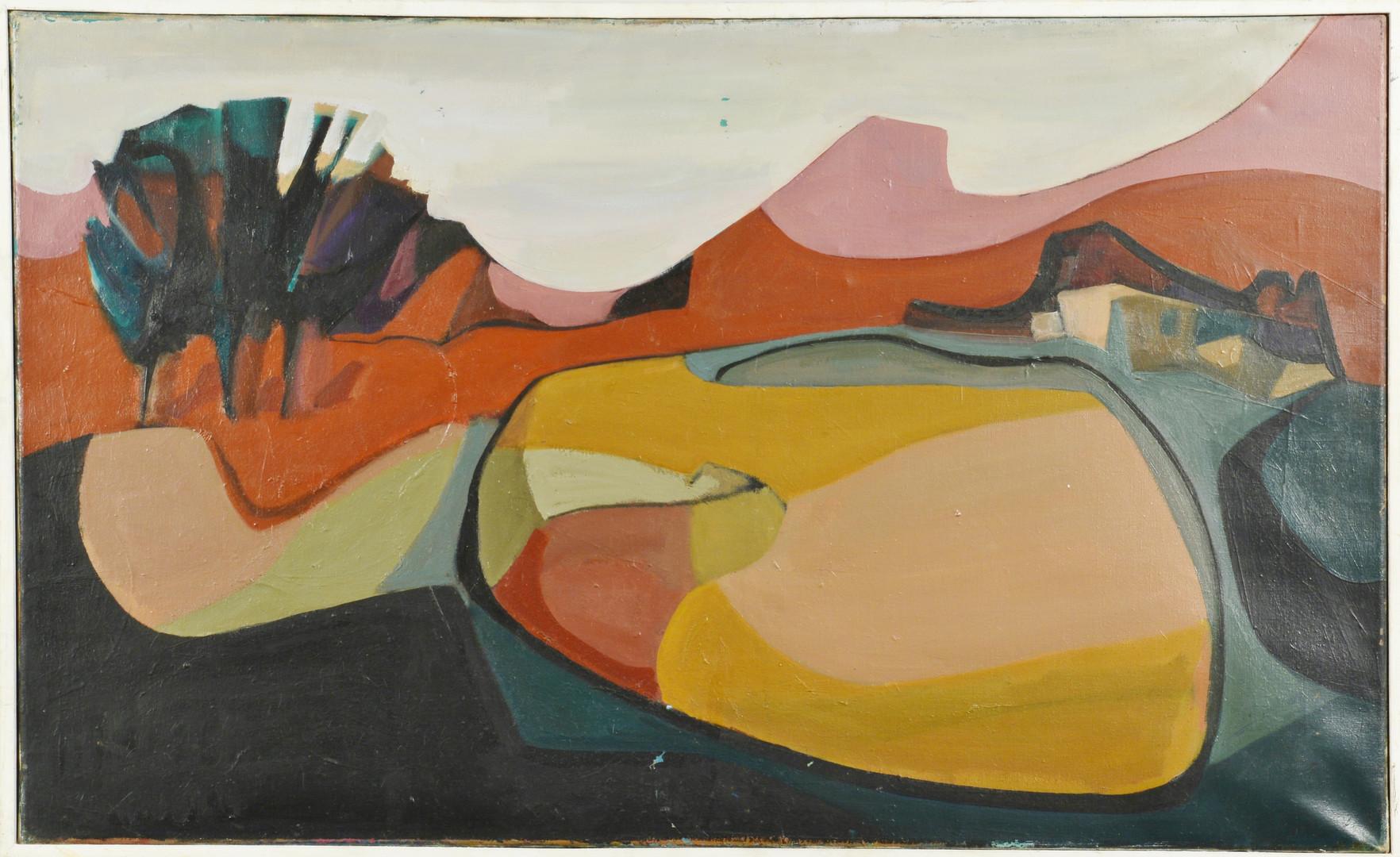 Lot 589: Lilli Palmer, Two Cubist Oils
