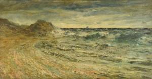 Lot 58: Robert Hopkin Oil on Board Seascape
