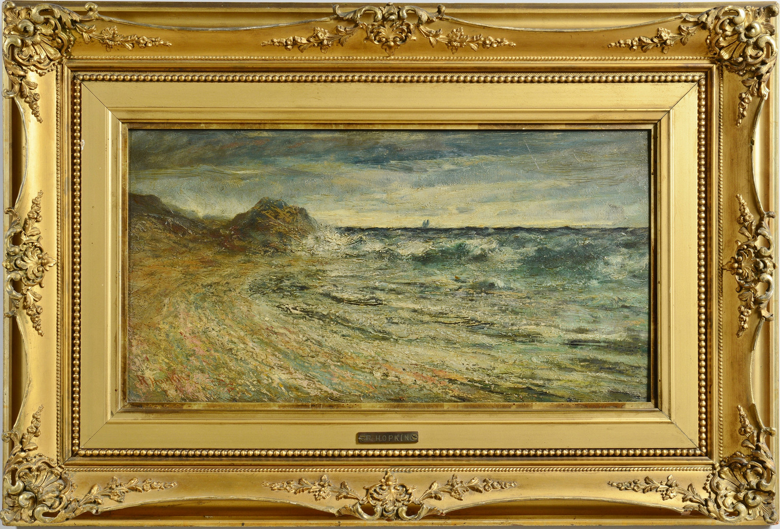Lot 58: Robert Hopkin Oil on Board Seascape