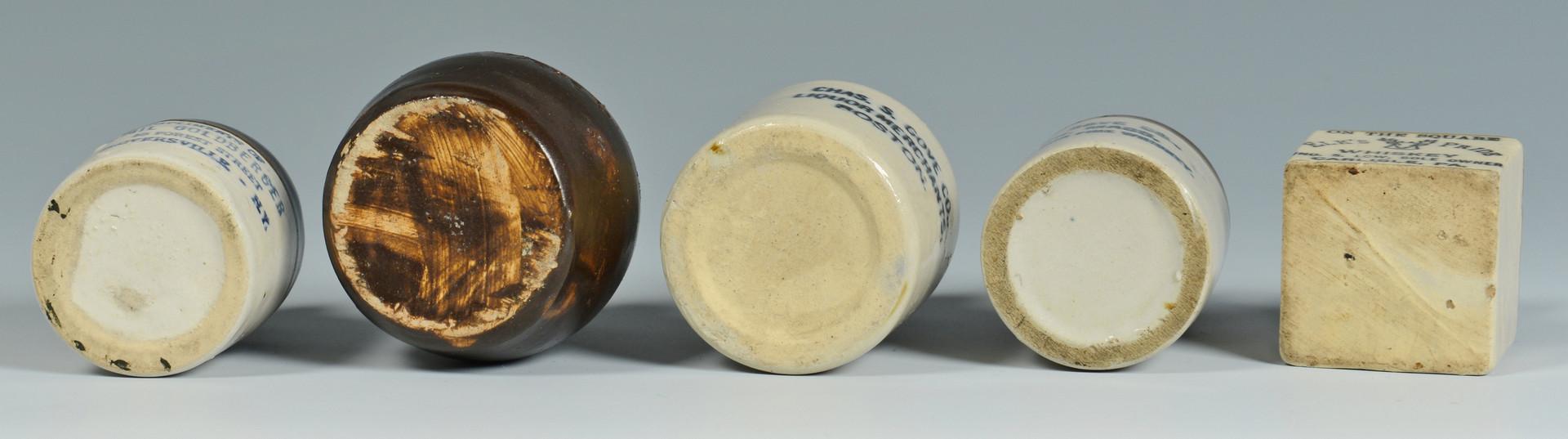 Lot 599: 5 New England Mini Whiskey Jugs