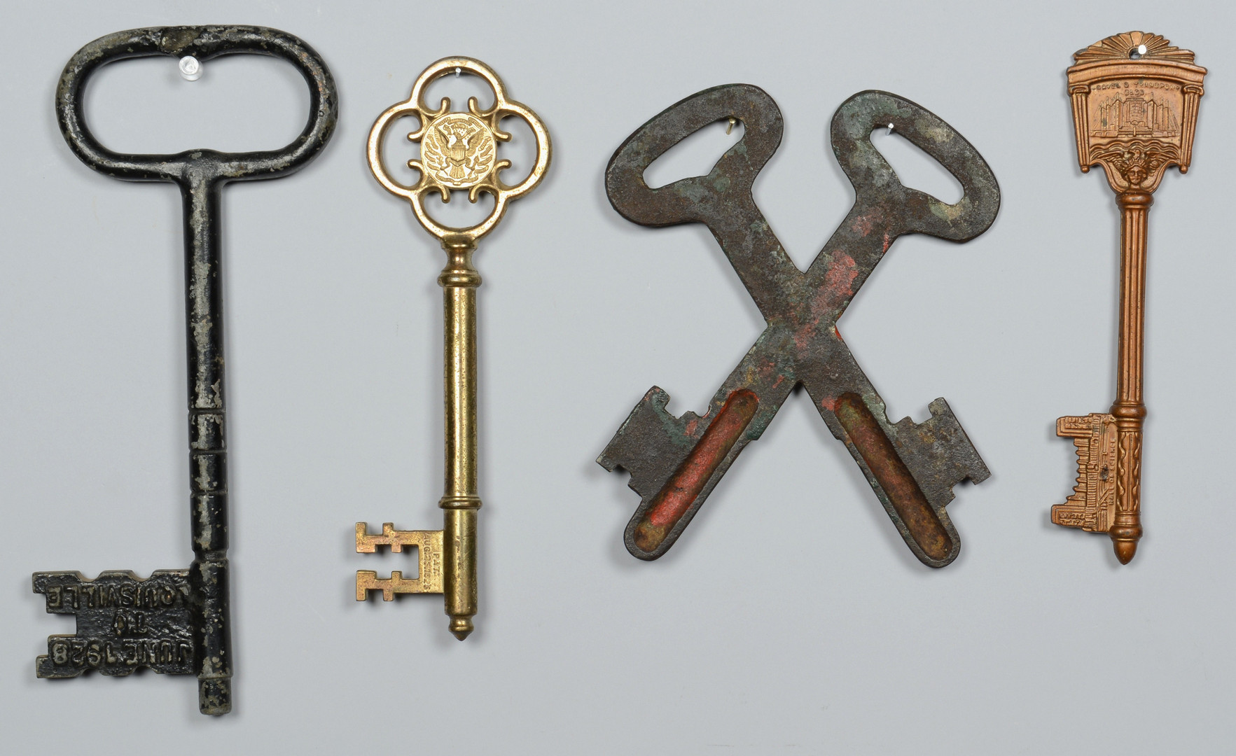 Lot 601: 6 Painted Metal Keys, incl. Signs