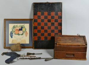Lot 606: Six 19 Century Folk Art items
