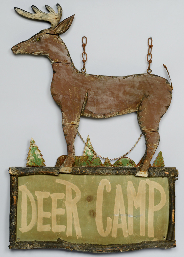 Lot 608: T. Ward Owl Decoy & Camp Sign