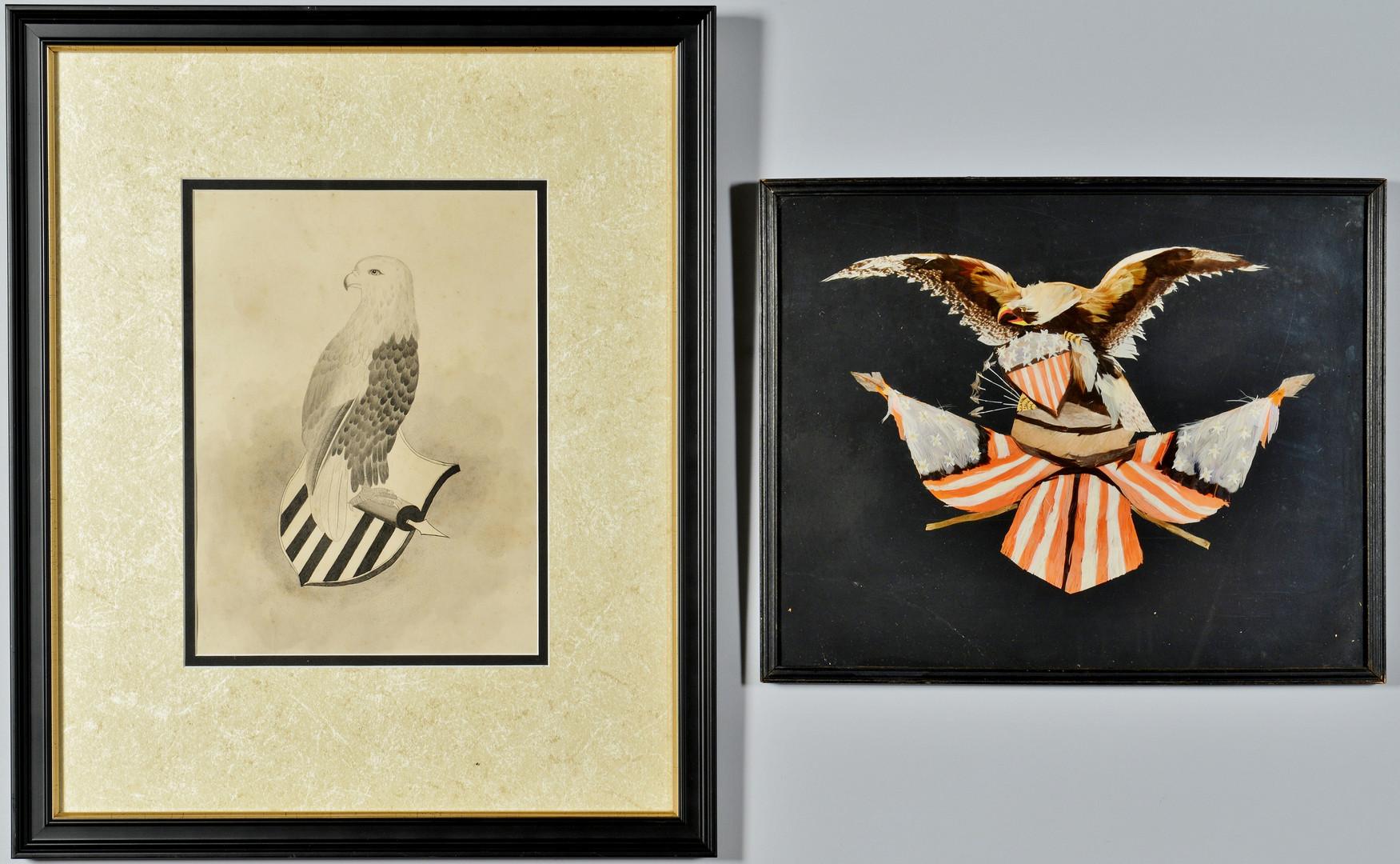 Lot 609: Folk Art Works of Eagles & Shield