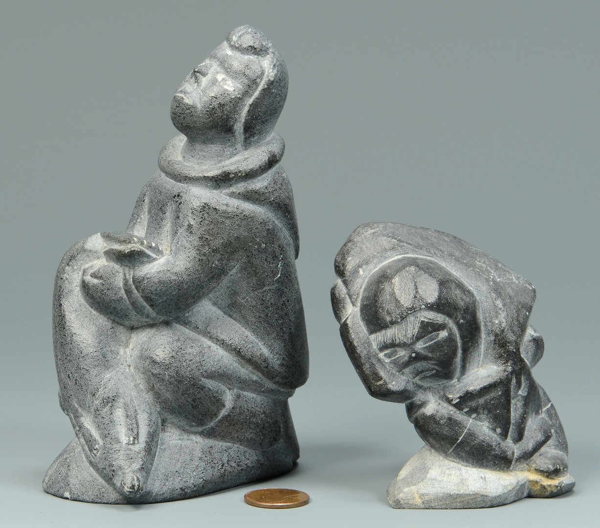 Lot 612: 2 Signed Inuit Stone Sculptures