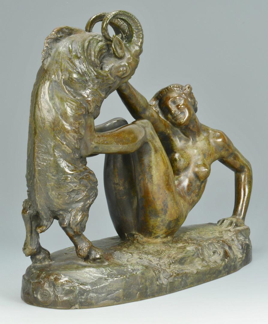 Lot 61: Clemencin Bronze Nude w/ Ram