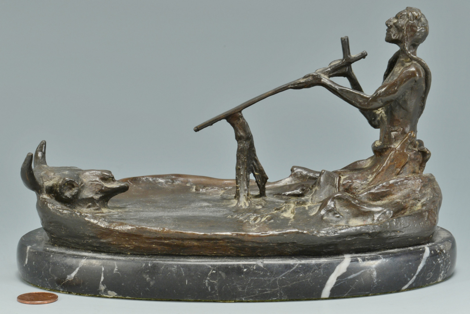 Lot 631: Charles Russell bronze, Smoking with the Spirit of