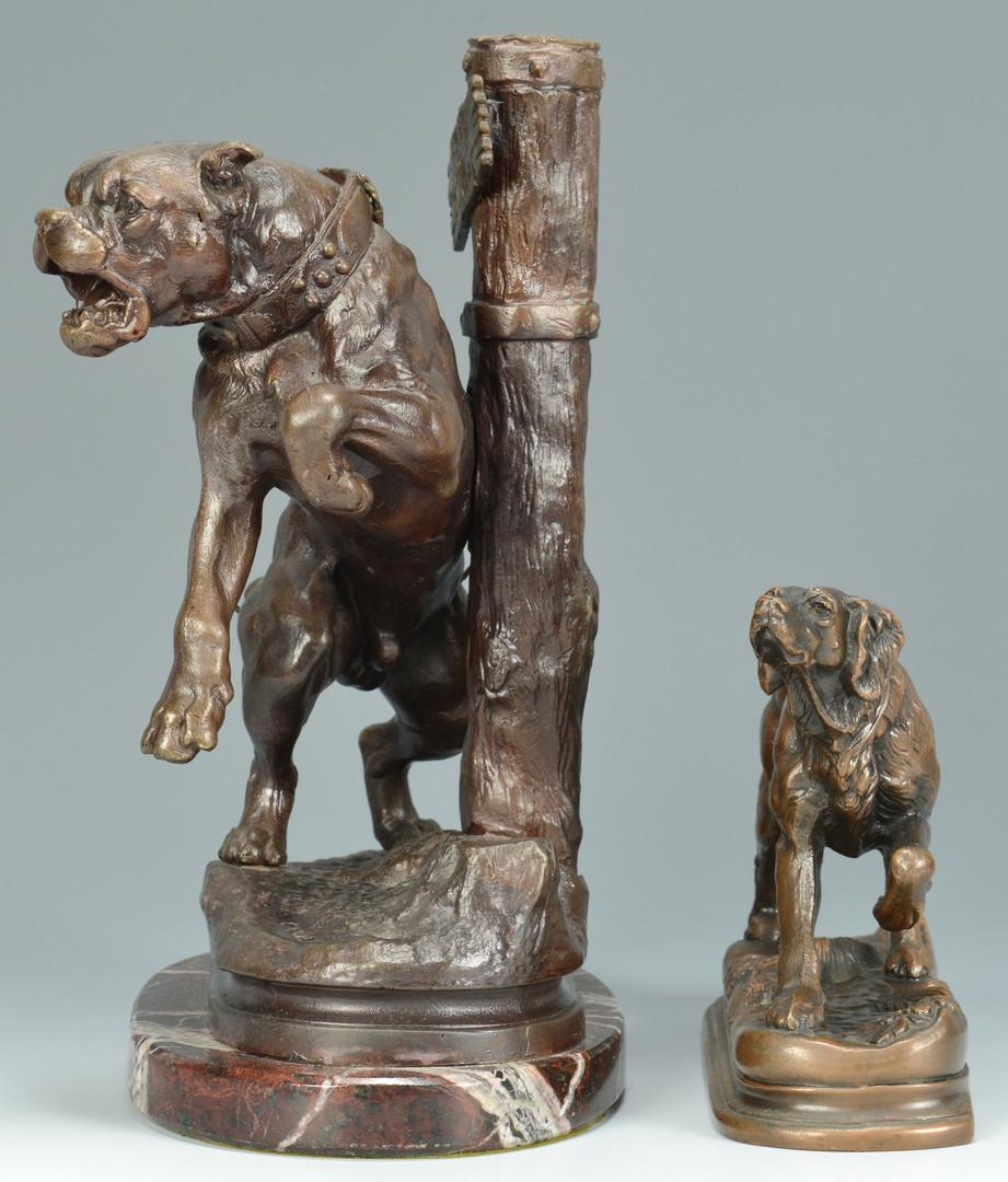 Lot 633: 2 Bronze Dog Figures