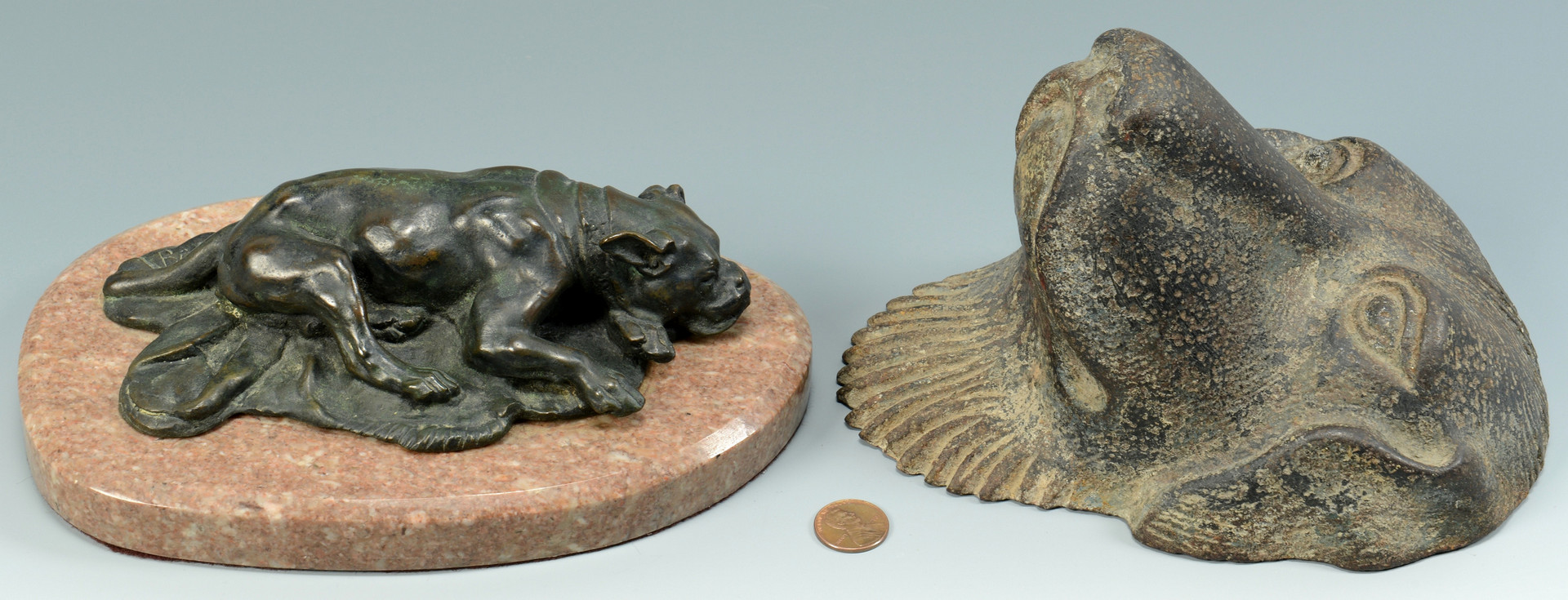 Lot 634: Bronze Dog Sculpture and Mask