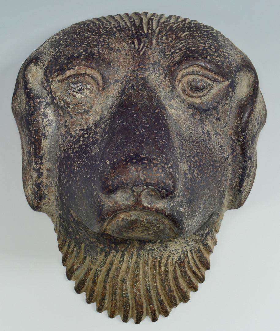 Lot 634: Bronze Dog Sculpture and Mask