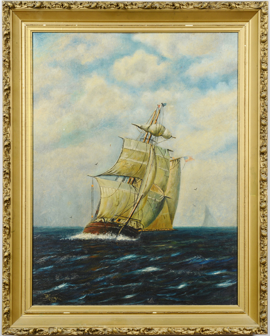 Lot 636: H. Moore Nautical Oil on Board