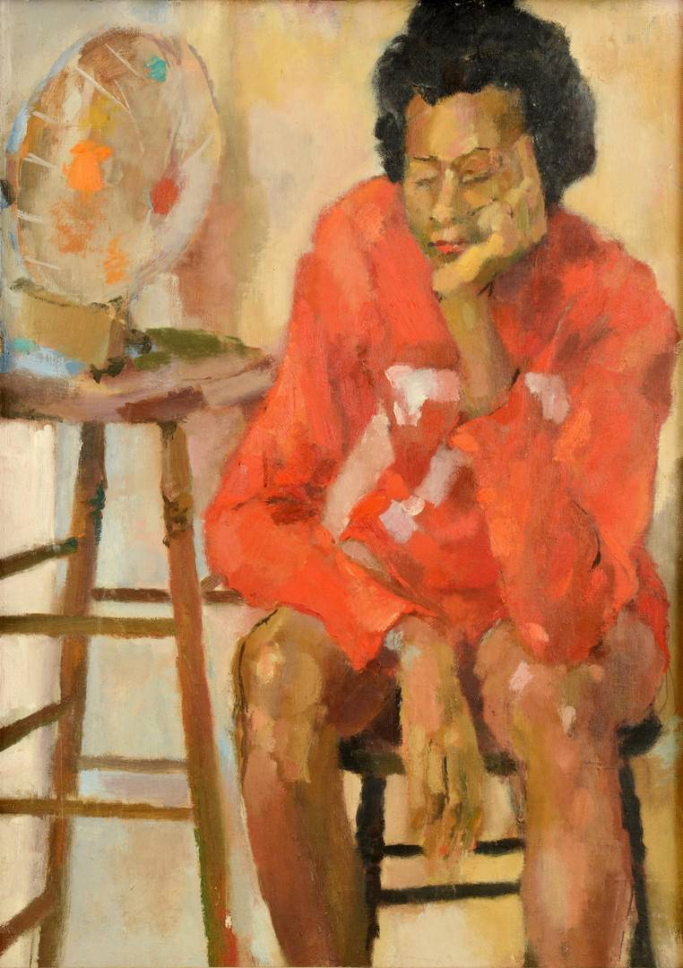 Lot 642: O/C of Seated Black Woman, Don Ogier