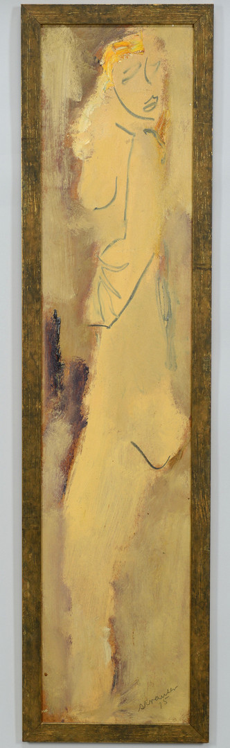Lot 643: Sterling Strauser large nude, oil on board