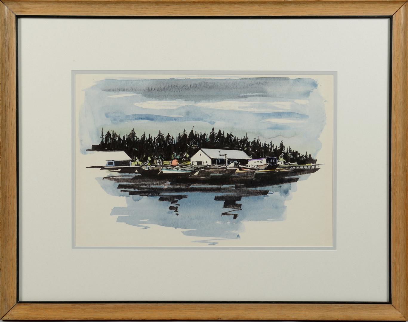 Lot 647: Ted Burnett W/C, boats in dock