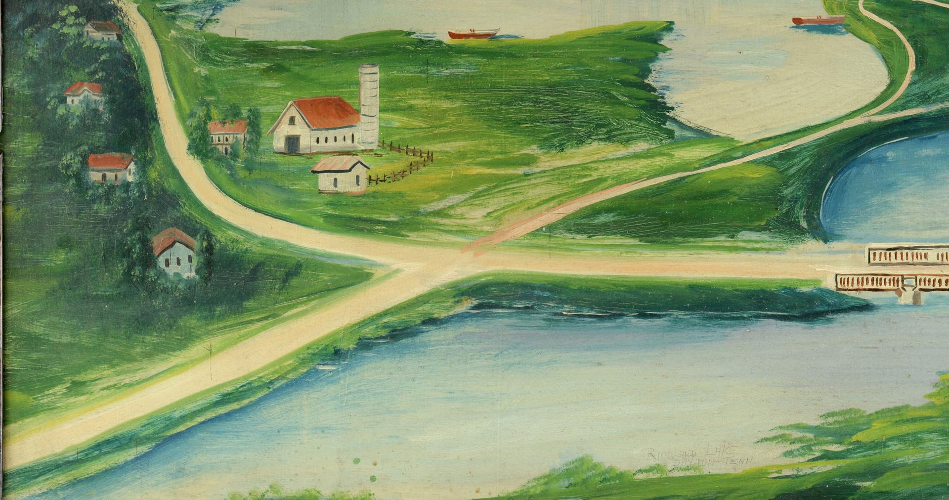 Lot 648: J. Hughes TN Folk Art Panoramic Painting