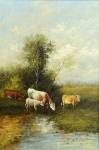 Lot 650: O/C Landscape w/Cattle, attr. Akhriev