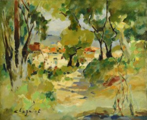 Lot 652: Alfred Chagniot o/c landscape
