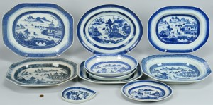 Lot 664: Chinese Blue/White Canton, 10 pcs.