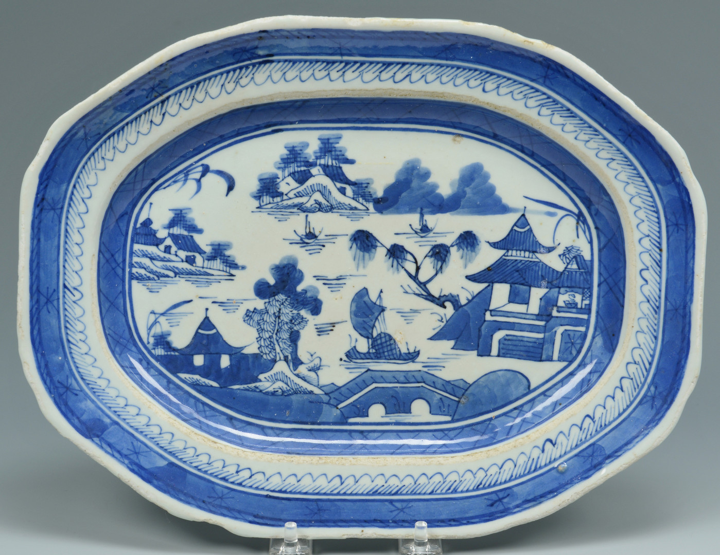 Lot 665: 19th c. Blue/White Canton, 12 pcs.