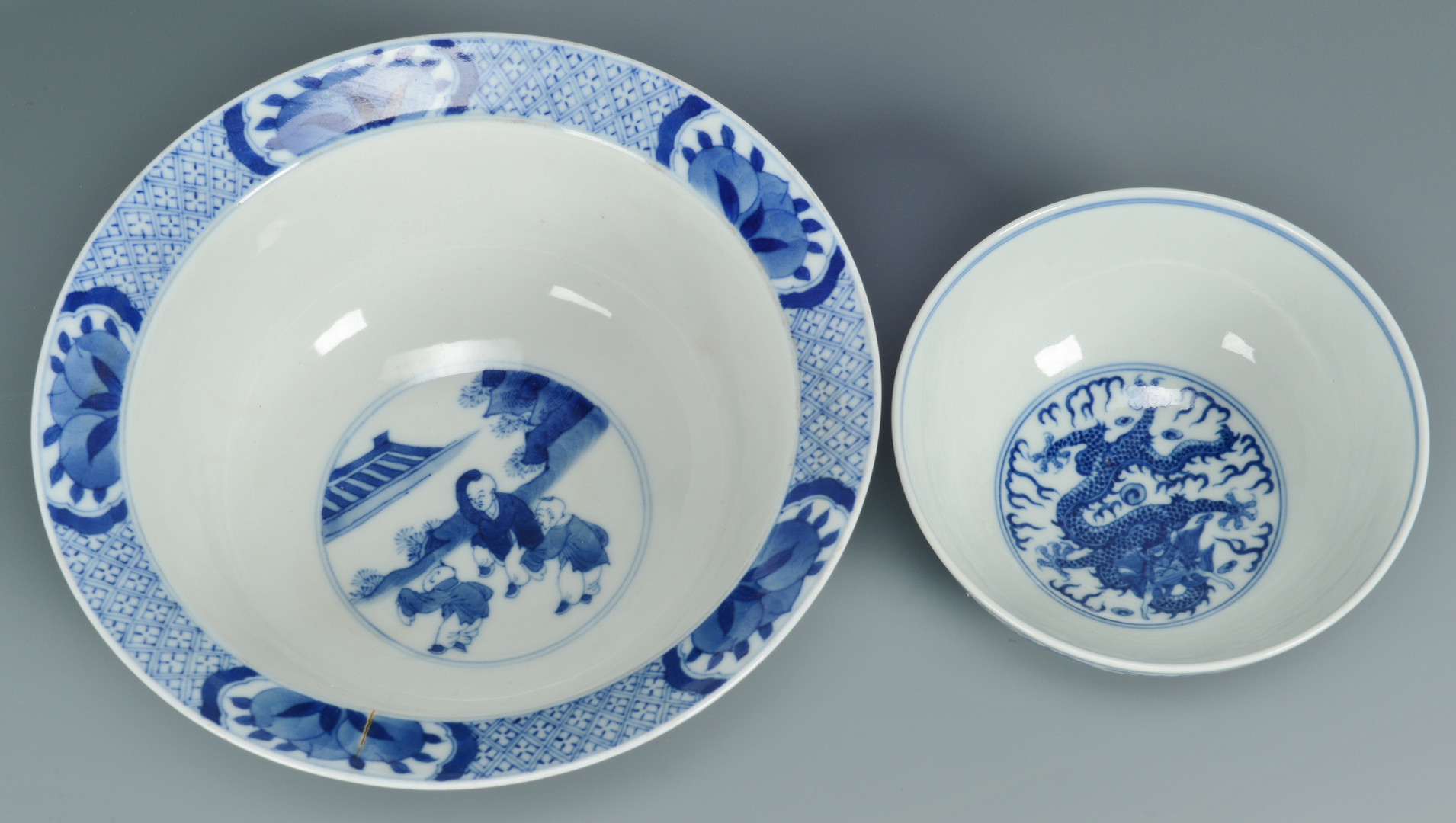 Lot 668: 2 Chinese Blue & White Porcelain Bowls