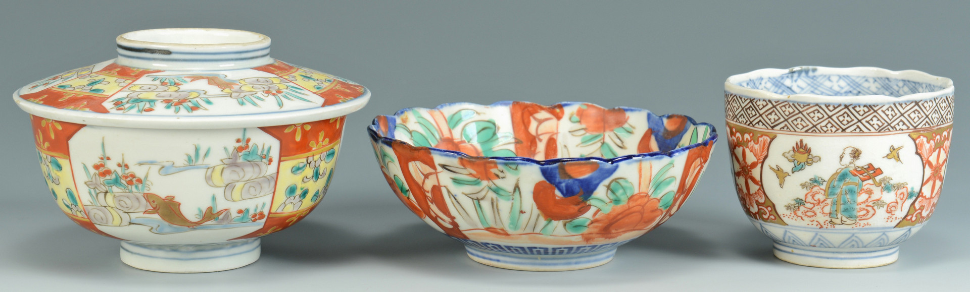 Lot 670: 7 Porcelain Items with Asian Decoration