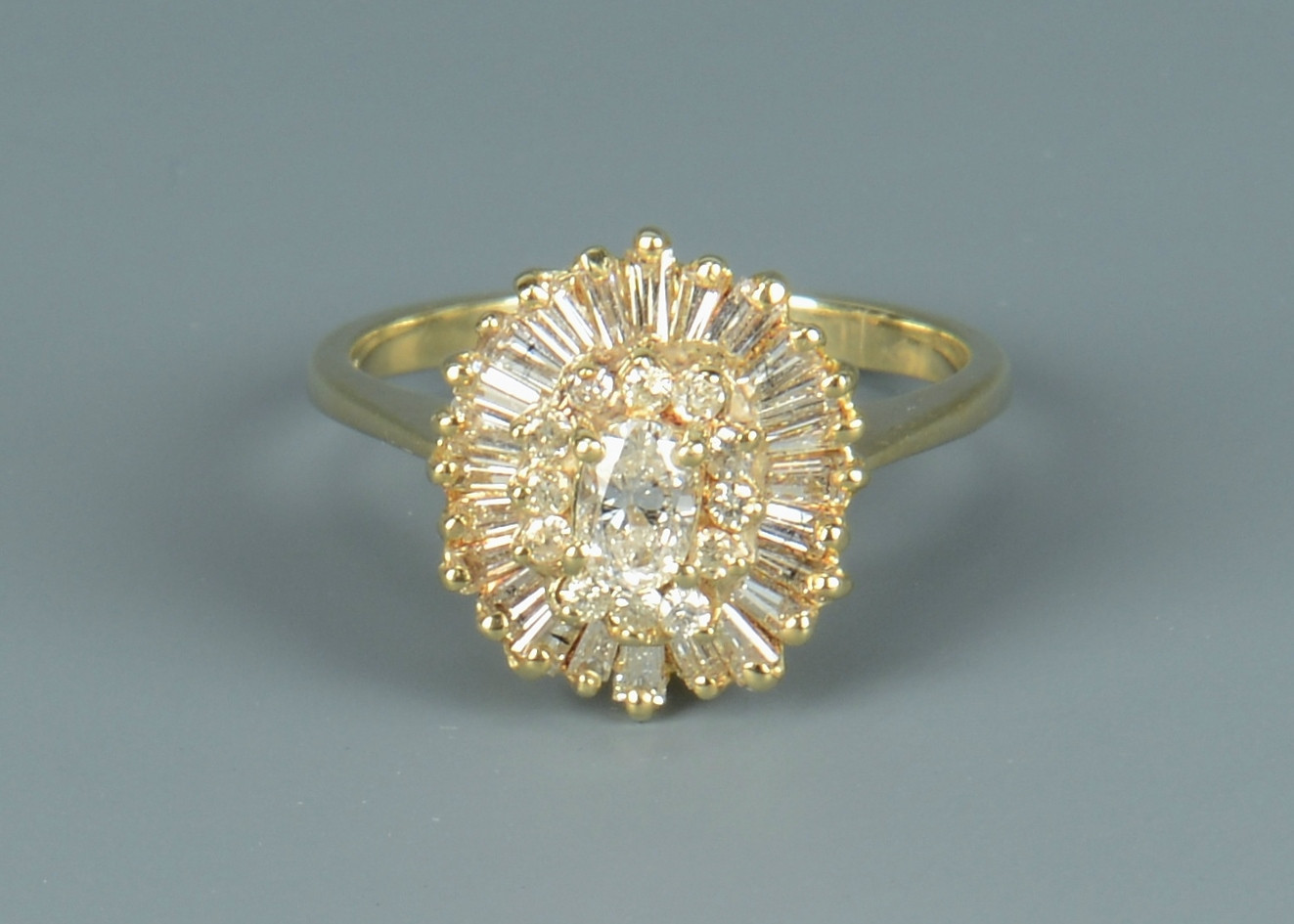 Lot 676: Ladies 14k Diamond Cocktail Ring