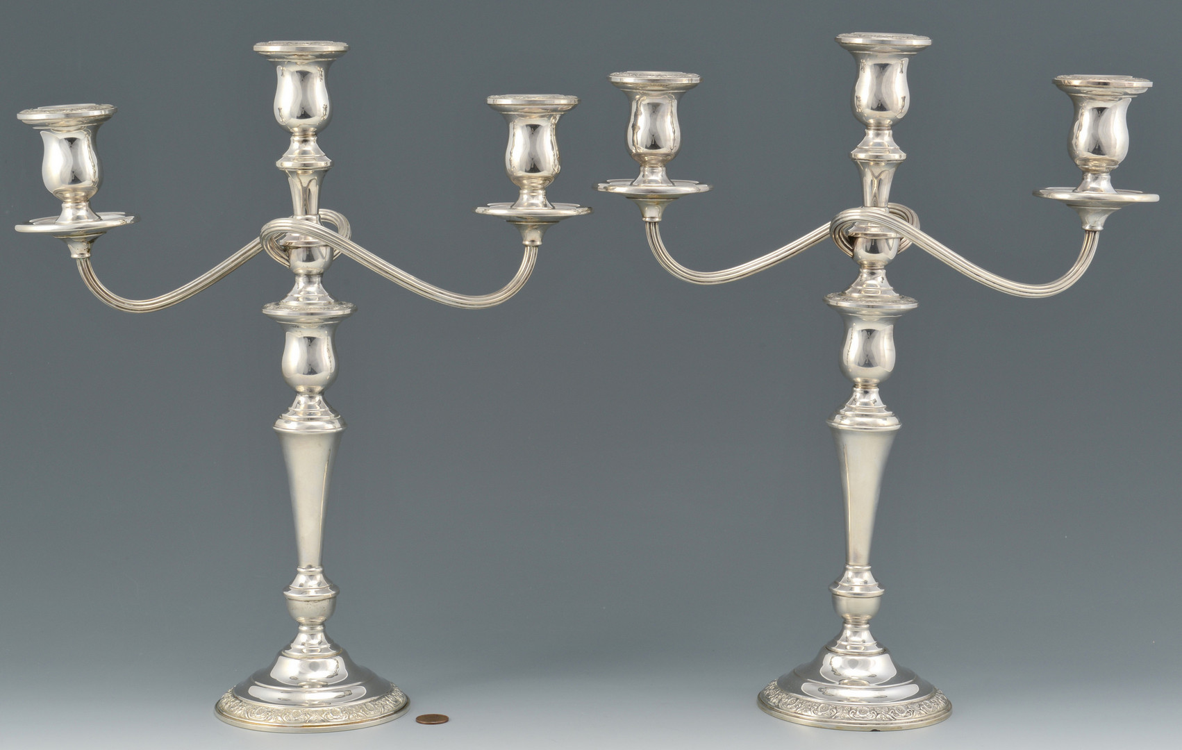 Lot 693: Pair Sterling Prelude Candelabra