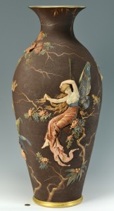 Lot 697: Large Mettlach Vase w/ Relief Decoration