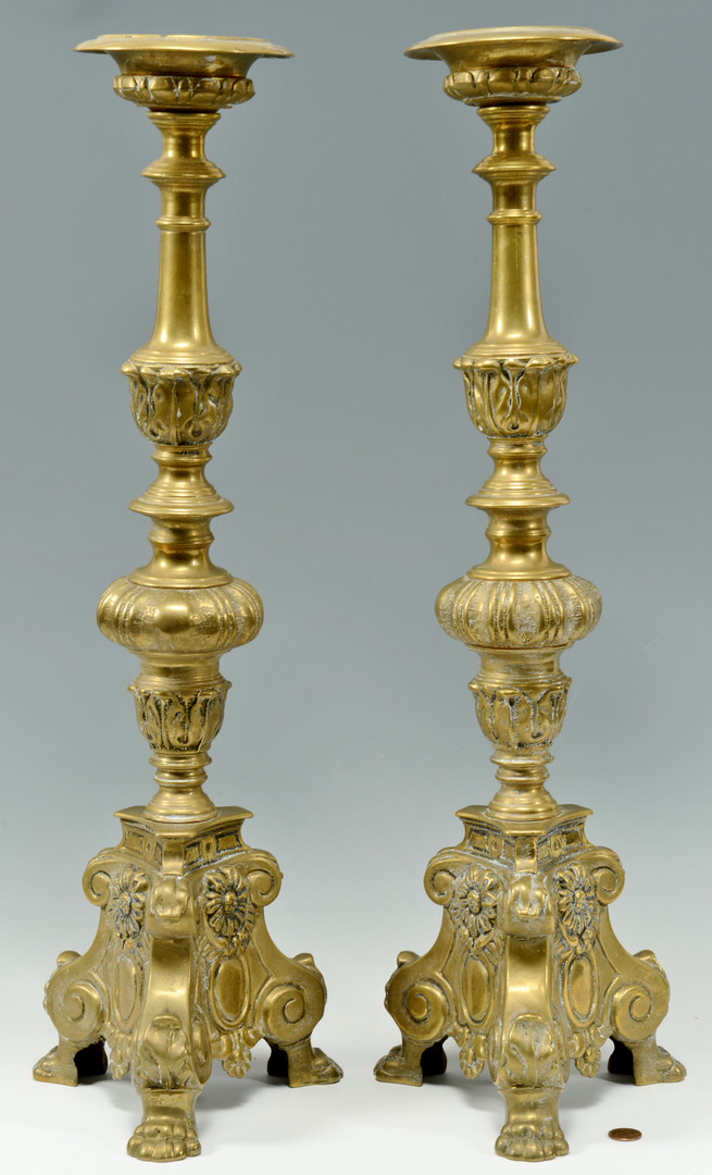 Lot 704: 5 Tall Brass Candlesticks