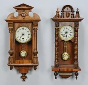 Lot 709: 2 Carved Regulator Wall Clocks