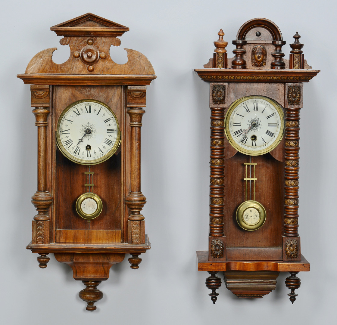 Lot carved regulator wall clocks