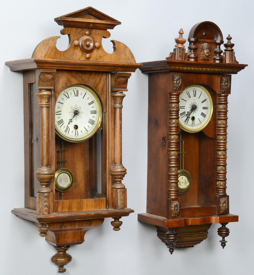 Lot carved regulator wall clocks