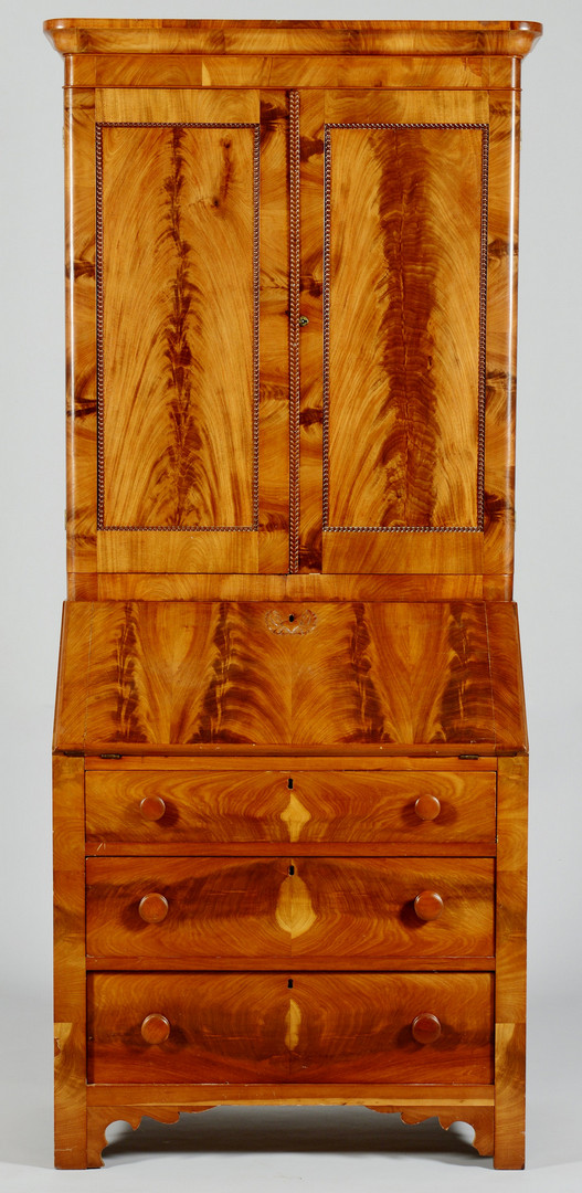 Lot 713: Small Late Classical Secretary Bookcase, prob. Ohi