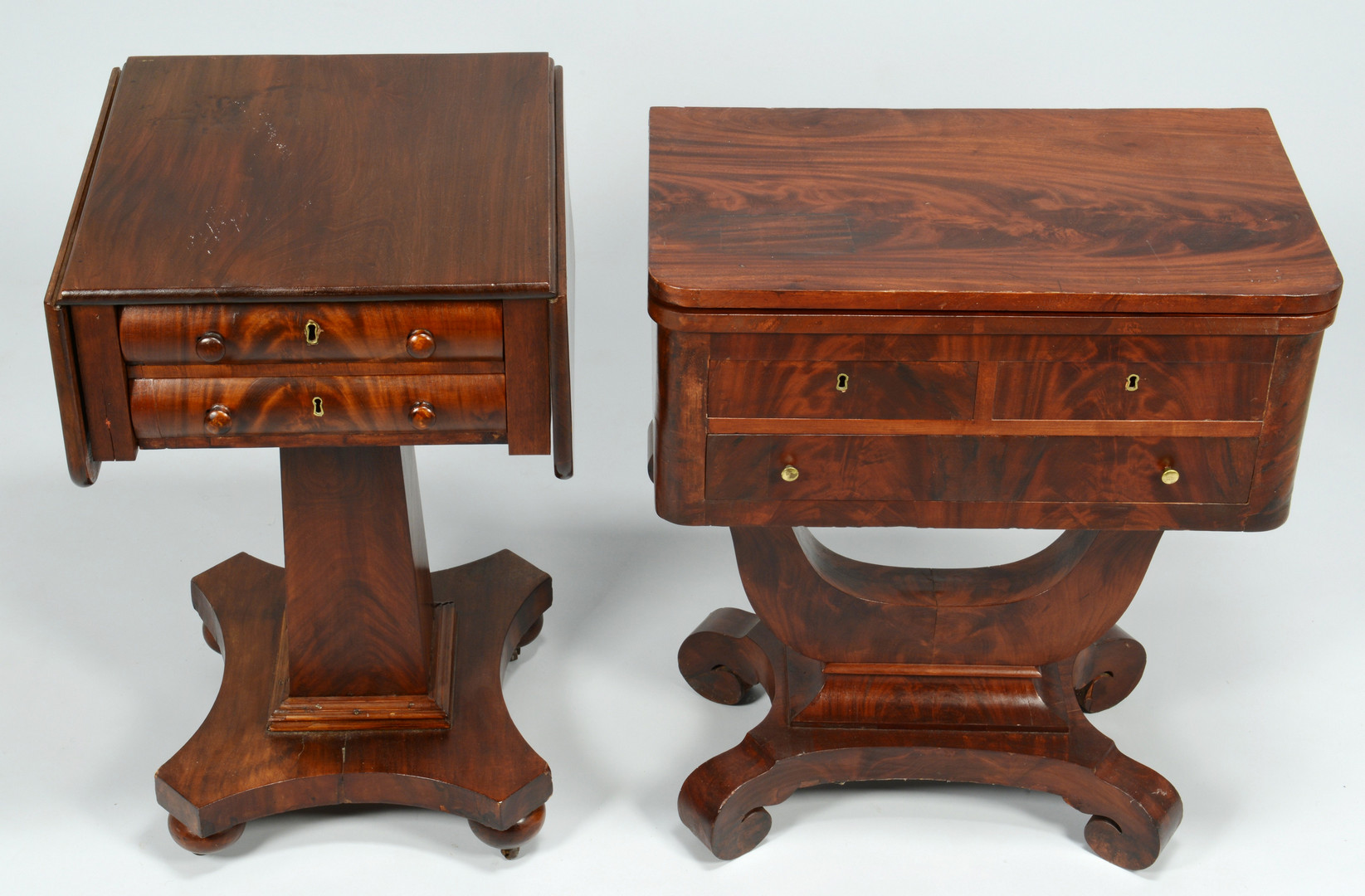 Lot 718: 2 Empire Mahogany Tables, Work and Game
