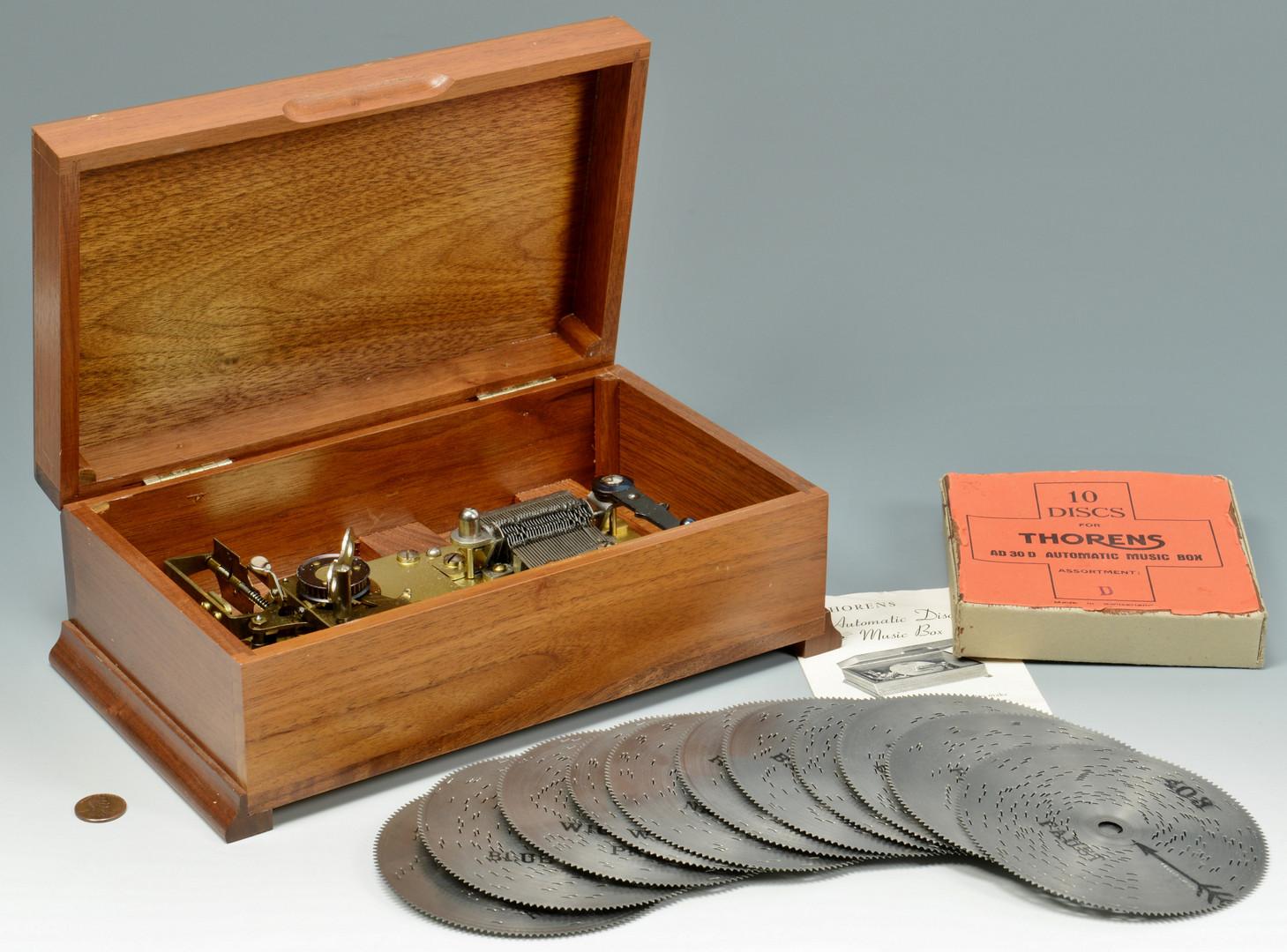 Lot 724: Pair Music Boxes w discs, Regina & Thorens