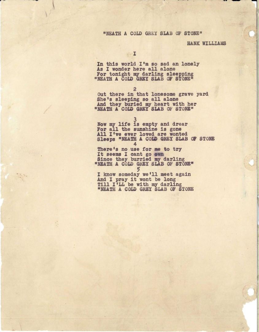 Lot 733: Hank Williams Sr signed song lyrics, 1 unpublished