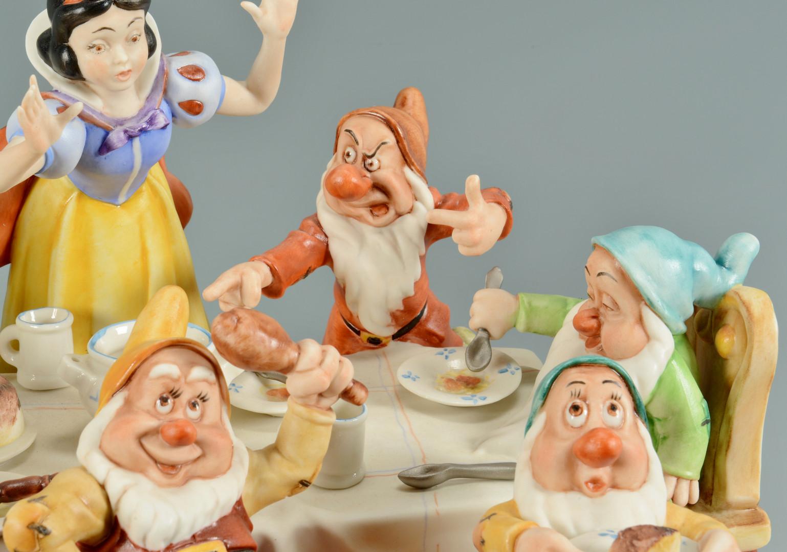 Lot 739: Capodimonte Snow White & 7 Dwarfs Figural