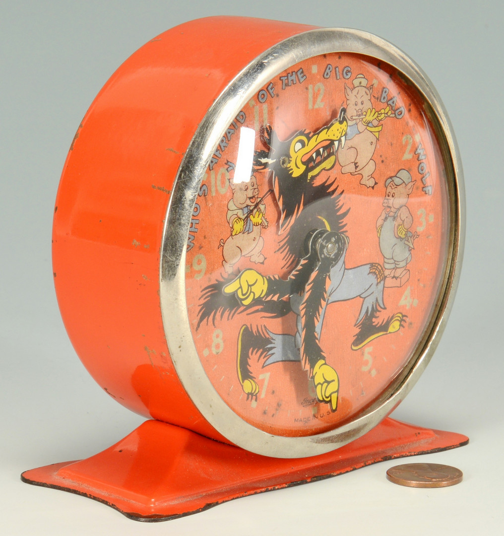 Lot 743: 1934 Disney 3 Pigs Alarm Clock