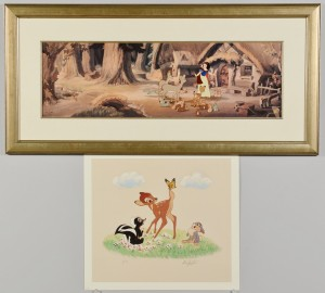 Lot 746: Snow White Cel and Bambi Print