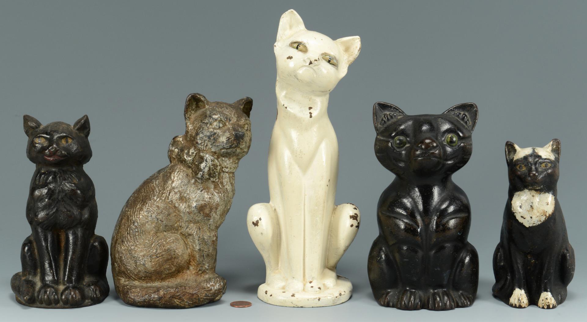 Lot 753 5 cast iron cat doorstops - Cast iron cat doorstop ...