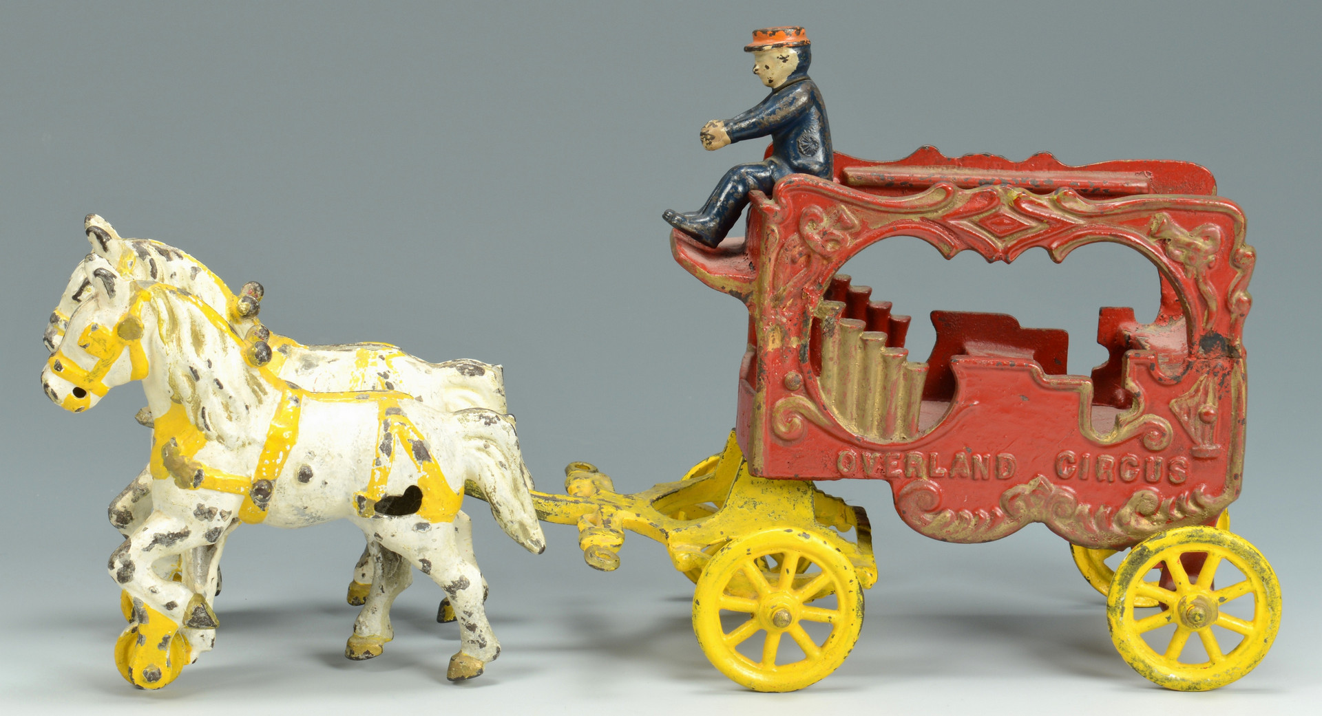 Lot 755: 3 Cast Iron Toys: Circus, Fire, Sulky