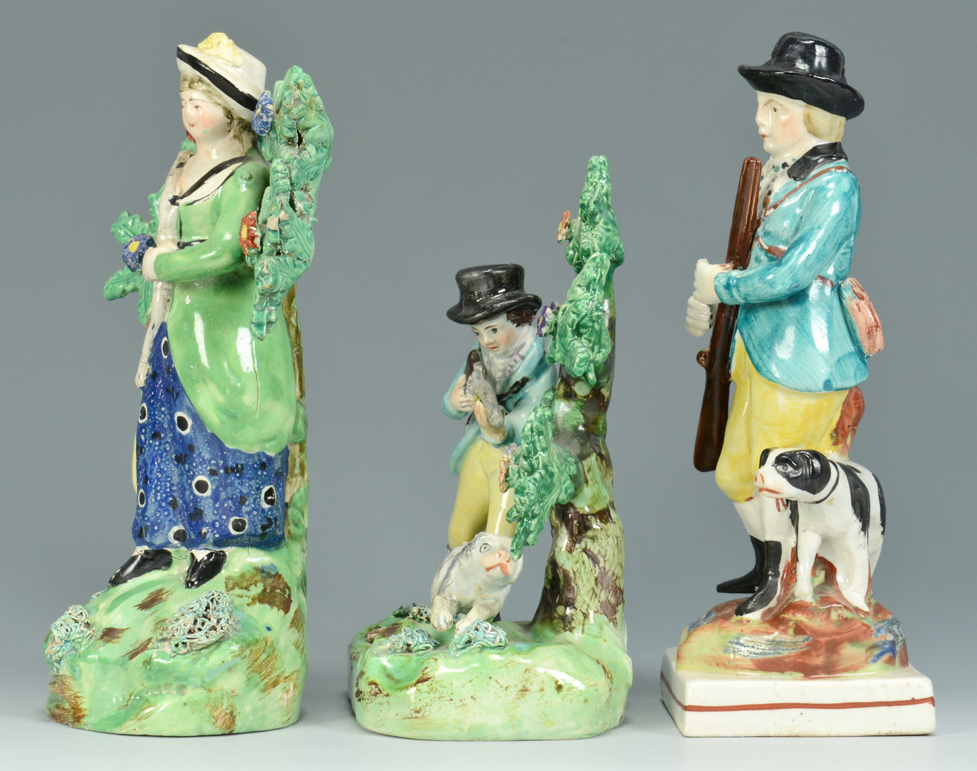 Lot 756: 3 Staffordshire Hunting Figures inc. Walton