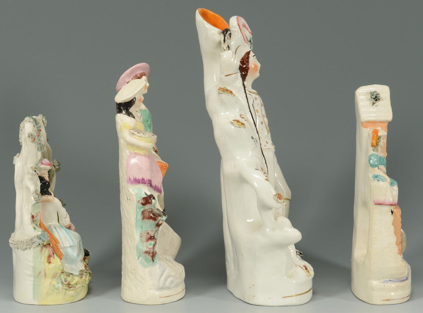 Lot 759: 4 Staffordshire Pottery Figurals
