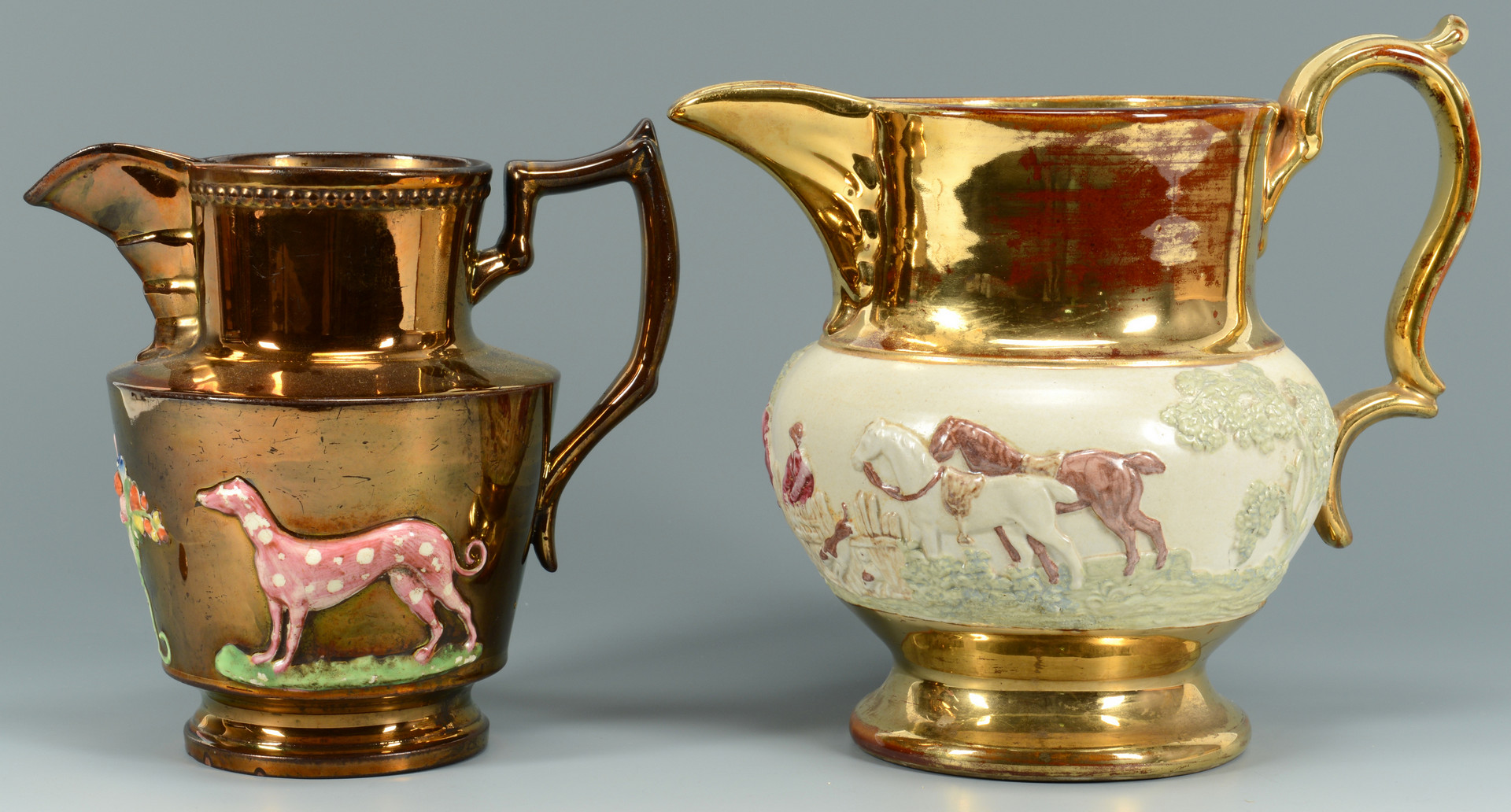Lot 760: 6 Lusterware Pitchers w/ Animal Themes