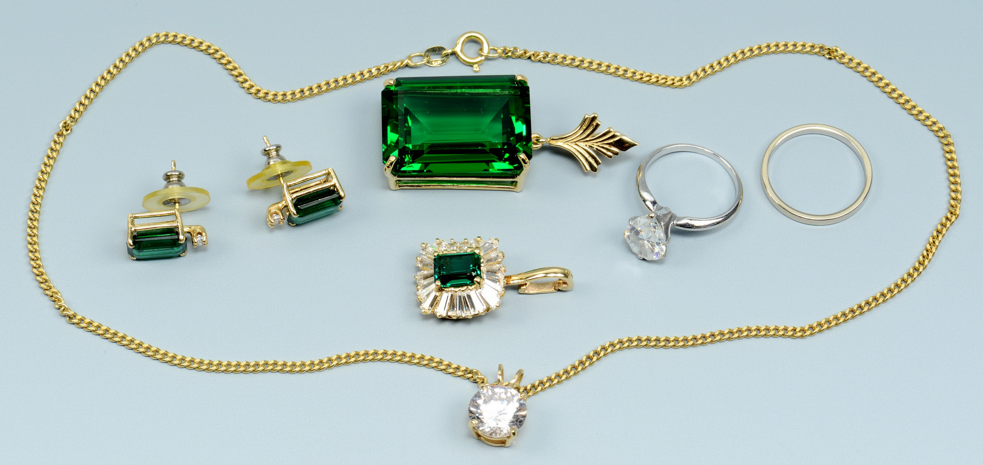 Lot 776: Group of 14k and Cubic Zirconia Travel Jewelry, 6