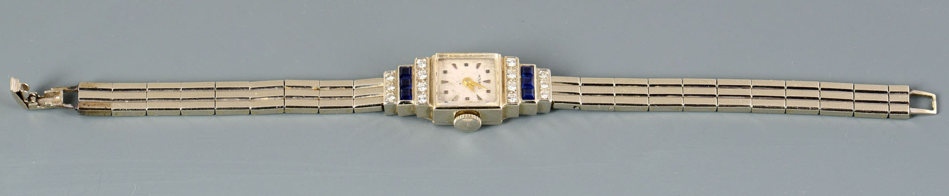 Lot 780: Movado Art Deco 14k Dia & Sapphire Lady's Watch
