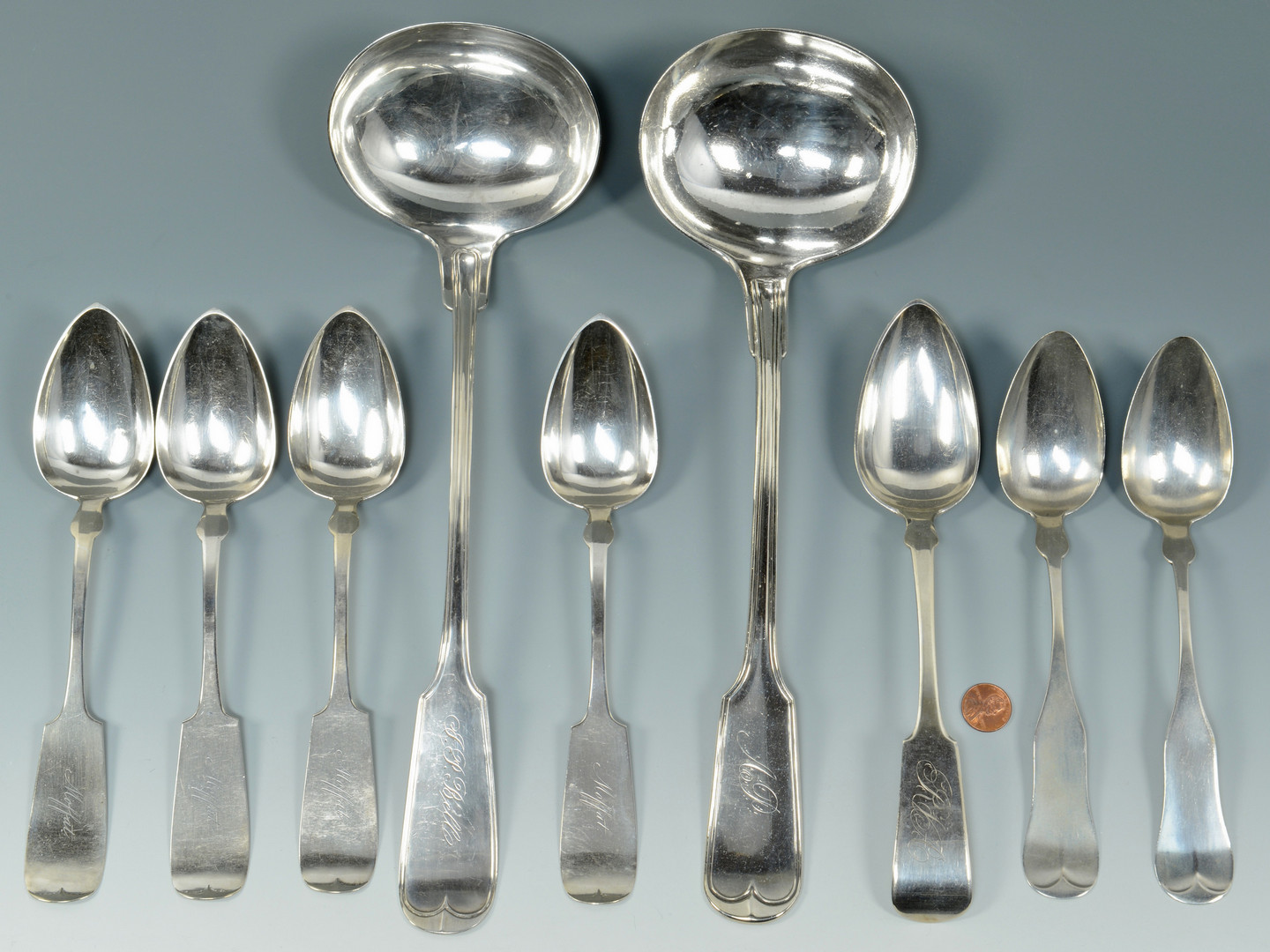 Lot 789: NY Silver spoons and ladles, 9 pcs