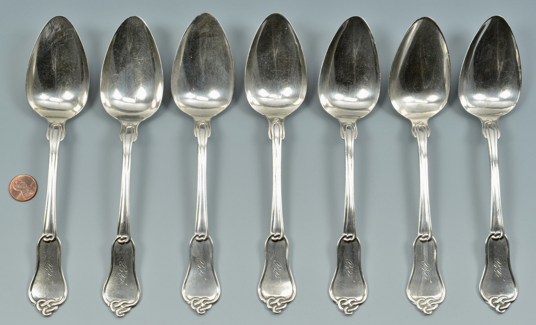 Lot 78: 7 Calhoun TN Coin Tablespoons, Knot Pattern