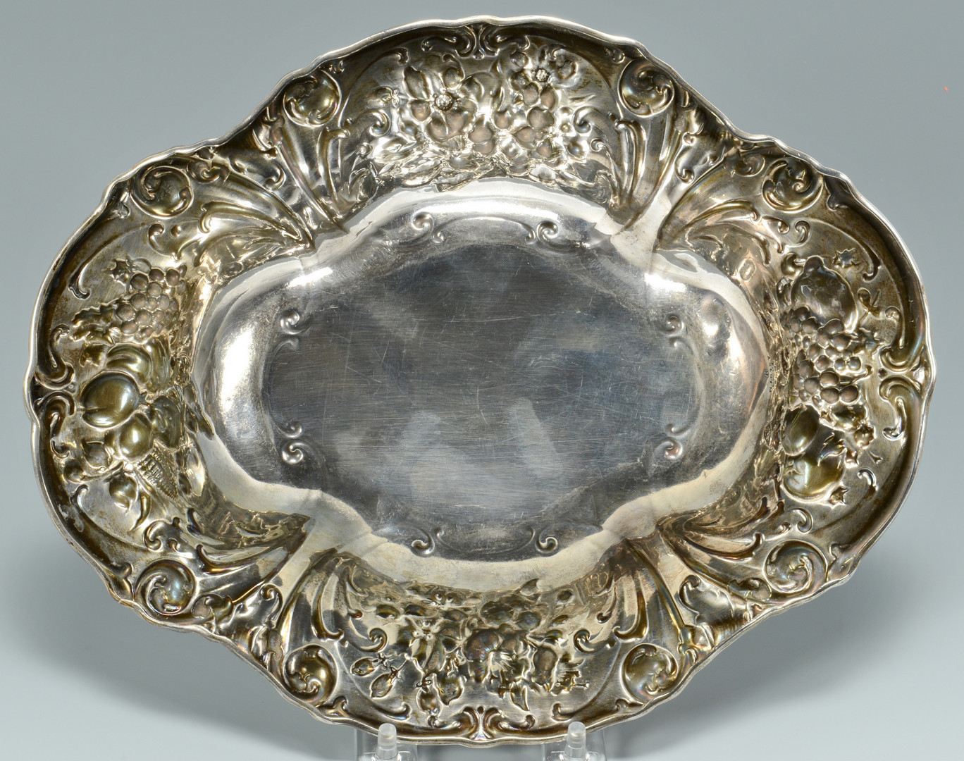 Lot 795: Gorham Sterling Repousse Serving Dish